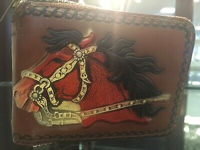 HOOey Western Boys Rodeo Wallet Youth Leather Cut-Out Floral Brown 1779481W8
