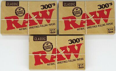 RAW 300's Classic 1 1/4 Natural Unrefined 1.25 Rolling Papers 900 Leaves 3 PACKS