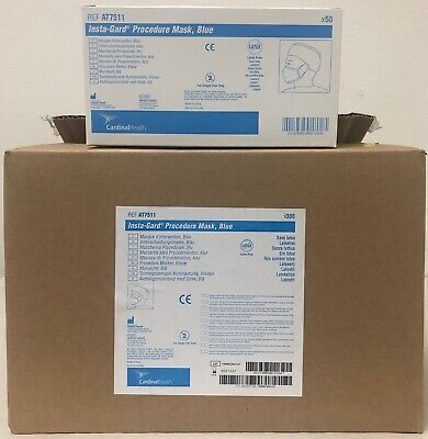 Cardinal AT7511 Insta-Gard Procedure Mask 6 x 50 Pc / Box EXP 01/25 Blue NEW