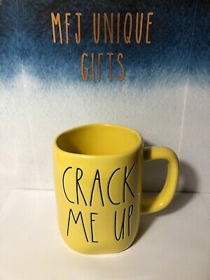 "Rae Dunn Easter/Spring LL ""CRACK ME UP"" Mug; Yellow Mug/Black Font NEW"