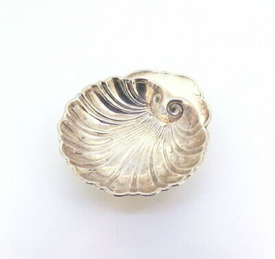 .Sterling Silver Ornate Shell Bowl Scalloped Edge Butter Oyster Dish 29.8g