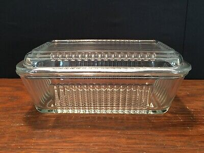 """Vintage Pasabahce Refrigerator Dish Clear Glass Ribbed with Lid 6 3/4"""" x 4"""""""