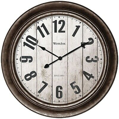 """15.5"""" Round Wall Clock Wooden Dial Home Office Decoration Antique Bronze Finish"""