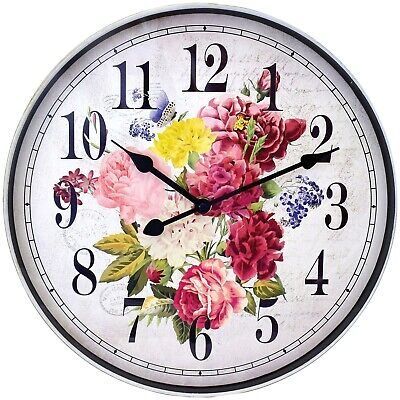 """12"""" Floral Wall Clock Round Analog Multicolored Printed Dial Antique White Case"""