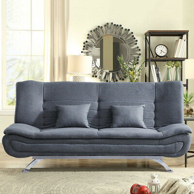 3 Seater Couch Linen Fabric Sofa Bed Double Sleeper Steel Legs Settee w/ Pillows