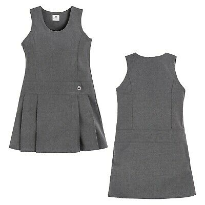 Girls Kids One Button Pinafore Dress Pleated School Uniform Age 2-15