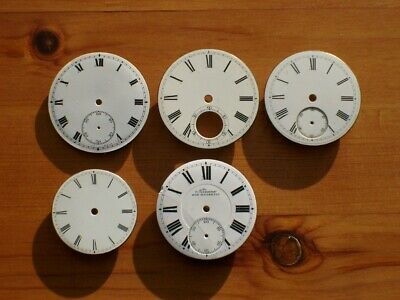 Five Antique White Enamel Silver / Gold Pocket Watch Dials For Spares Or Repair