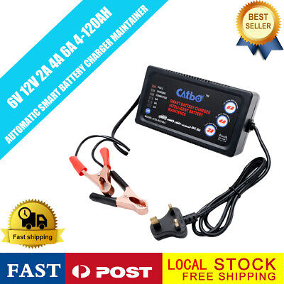 6V 12V Smart Trickle Battery Charger For Car Motorcycle Caravan Boat Led Uk Plug
