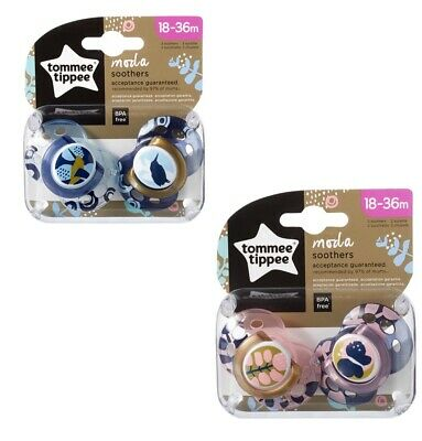 Tommee Tippee Moda Soother Twin Pack - 18-36m - Bird or Butterfly Designs (A170)