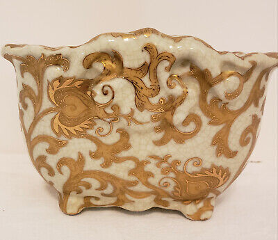 Amita Chinese Hand Painted Ceramic Plant Pot Gold and Ivory