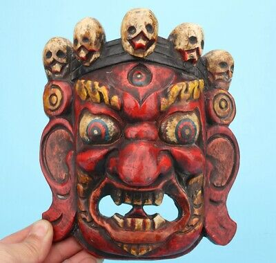 Rare Sacred China Wood Statue Mask Hand-Painted Exorcism Collec Gift