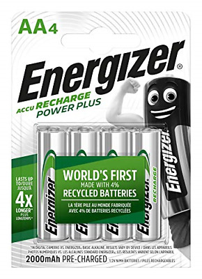 Rechargeable Batteries AA, Double A Power Plus, 4 Pack 2000 mAh