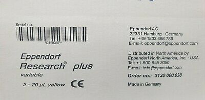 NEW IN BOX Eppendorf 2 - 20 uL Research Plus variable Pipette Pipettor
