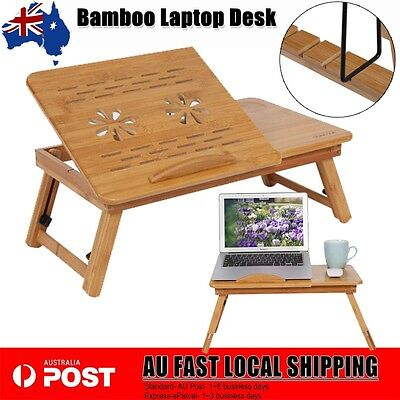 Foldable Wooden Bamboo Bed Sofa Tray Laptop Desk Tea Dinner Serving Table Stand