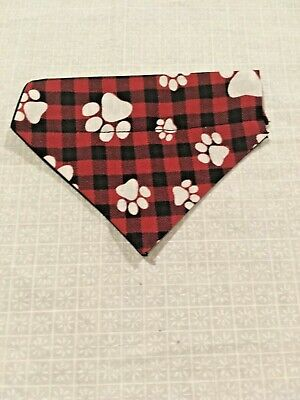 Over Collar Slide On Pet Dog Cat Bandana Scarf  RED PLAID & PAWS  XSMALL