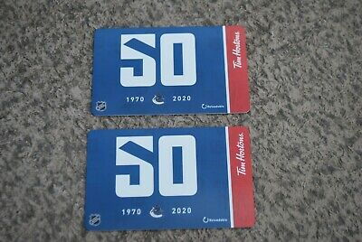 Tim Hortons Gift Card 2020 Vancouver Canucks 50 Years 1970-2020 New Lot Of 2