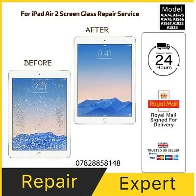 iPad AIR 2 CRACKED GLASS DIGITIZER TOUCH SCREEN REPAIR REPLACEMENT SERVICE