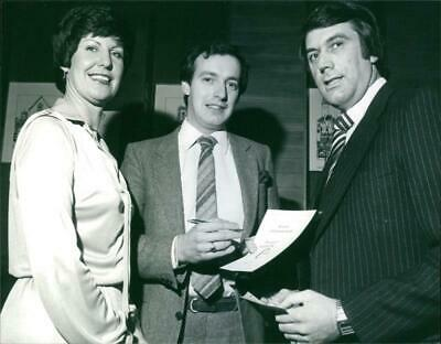 Clive Bamford receives cheque for Big C appeal - Vintage photograph