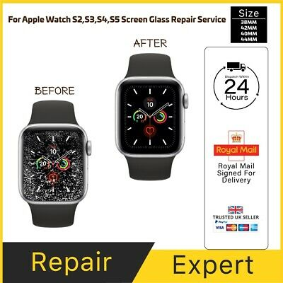 Apple Watch Series 1,2,3,4,5 38mm 42mm 40mm 44mm Cracked Screen LCD Glass Repair