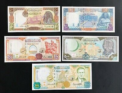 Syria 1997-98, UNC Full Set of 5 Banknotes:1000 500 200 100 50 - Exceptional