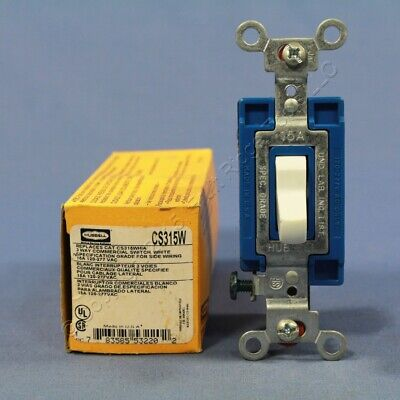 Hubbell Bryant White 3-Way COMMERCIAL Toggle Light Switch 15A 120/277V CS315W