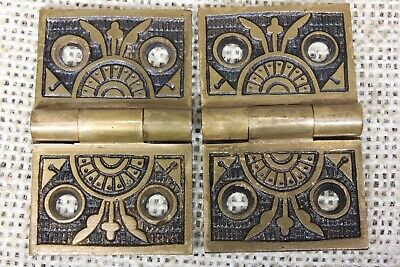 "2 old decorated Hinges door brass 1 1/4 x 2"" 1880 vintage interior shutter"