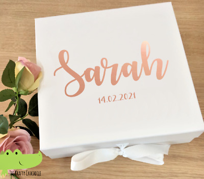 Personalised Wedding Box Decal Rose Gold, silver, black Name Stickers Bridesmaid