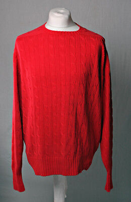 Ralph Lauren Polo Retro Cable Knit Crew Neck Jumper Sweater 100% Cotton Red VGC!