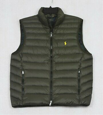 Polo Ralph Lauren Puffer Down Vest Packable Outerwear Olive Green L NWT $188