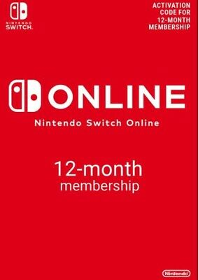 Nintendo Switch Online Subscription - 12 Months Code For US eShop (NEW)