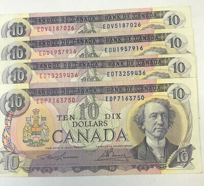 "CANADA 1971 $10.00 DOLLARS x 4 x "" LAWSON / BOUEY "" VERY FINE BANKNOTES"
