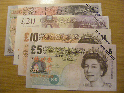 4 x Chinese Training Notes  - unusual items  -  5, 10, 20, 50 Pounds
