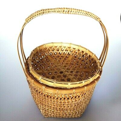 Hexagon shaped bamboo basket with panniers for Egg Fruit Food Luxury Handcrafts