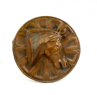 Large Stunning Antique French Copper Wall Sign About 1930 Art Deco Horse Head