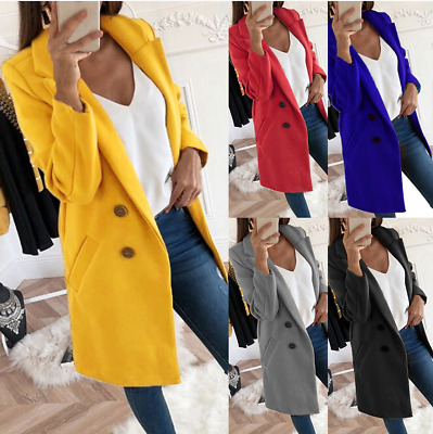 Womens Overcoat Woolen Trench Coat Ladies Winter Long Jacket Plus Size 8-22