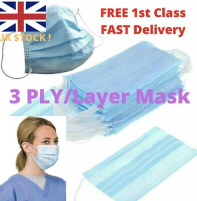 Disposable Surgical Face Masks 3-Ply Anti Virus Smog Flu Mask with Earloop