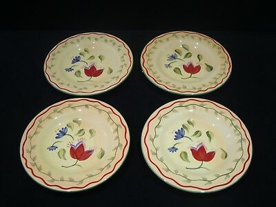 "Set of 4 Pfaltzgraff Napoli Hand Painted 9"" Salad Plates in Excellent Condition"