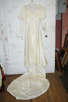 Vintage Ivory Wedding Peasant Long Dress Bridal Gown Satin & French Lace
