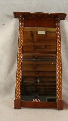 Antique 1840's Federal Mahogany Rope Carved Wall Mirror