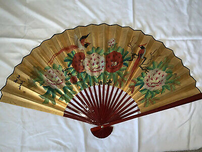 """Large Oriental Vintage Hand Painted Chinese Fan Decorative Wall Hanging Art 30"""""""