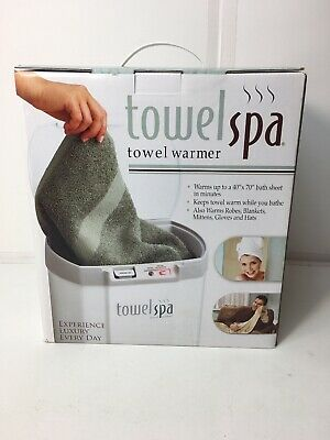 New Sealed Towel Spa Warmer Baby Blanket Hat Mittens Robe Auto Shut Off White
