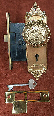 Antique Complete Brass Mortise Lock Set with Key, Knobs, Striker and Plates