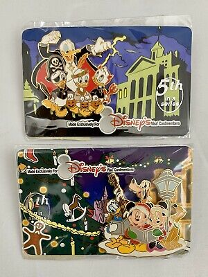 Lot of 2 Disney Visa Pins - Donald Nephew Trick or Treat Mickey Season Singing