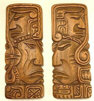 Wood Face Mask Hand Carved Inca Mayan God Totem Wall Art 2 pc