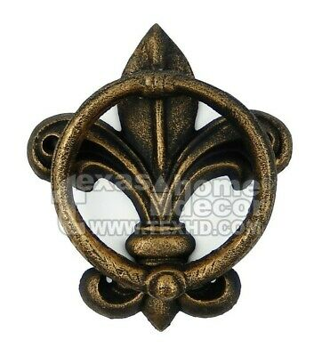 Fleur De Lis Door Knocker Cast Iron Antique Style Rustic Golden Finish