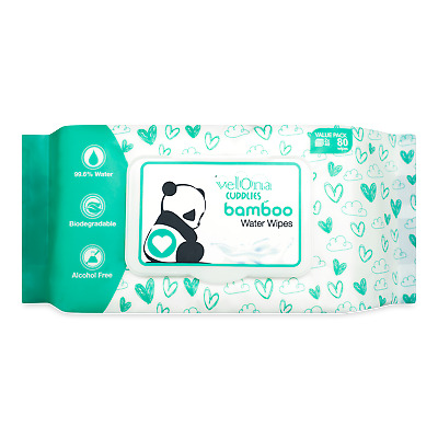 Velona Cuddlies Fragrance Free Bamboo Water Wipes Wet Wpes Baby Wipes 80 pack