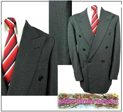 """Roy Robson Double Breasted mens 2 piece suit Ch40""""R W34"""" L31"""" Black & white"""