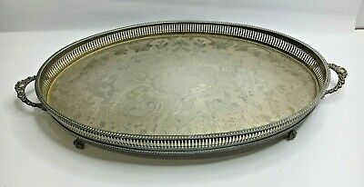 Large Vintage Silver Plated Serving Tray Oval Shape Claw Feet Twin Handles