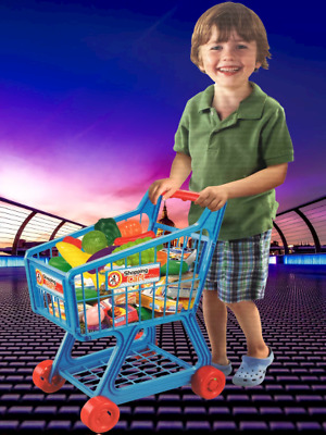 Kids Supermarket Mini Shopping Trolley Child Pretend Role Play Set W Fruits New