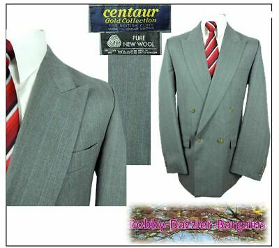 """Centaur Gold  Double Breasted mens 2 piece suit Ch42""""L W36"""" L31"""" Grey Pinstripe"""